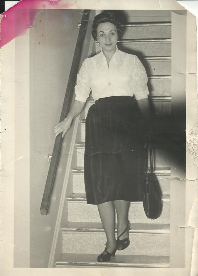 Mama on stairs